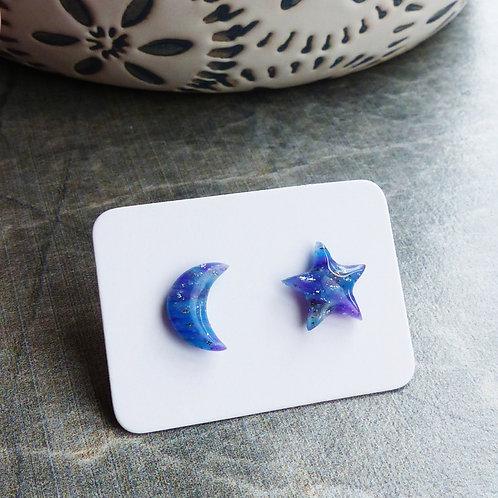 Galaxy Star & Moon Stud Earrings, 8mm Diameter