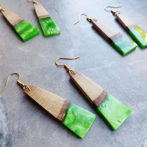 Pearlescent Green, Wood & Resin Earrings by Amber Alpaca