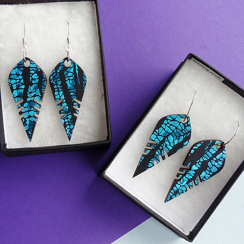 Royal Blue, Colour-shifting Wooden Earrings by TOTEM TIGER