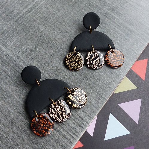 Black, Gold & Copper Foil, Statement Dangle Earrings