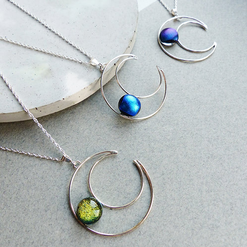 Glass Moon Necklaces by Twisted Little Flowers