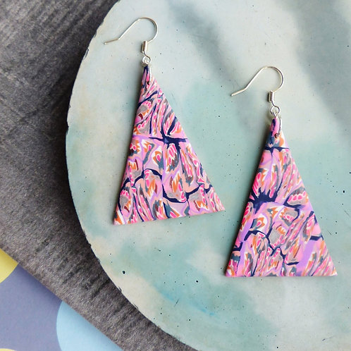 Psychedelic Pink/Lilac Triangles, Statement Dangle Earrings