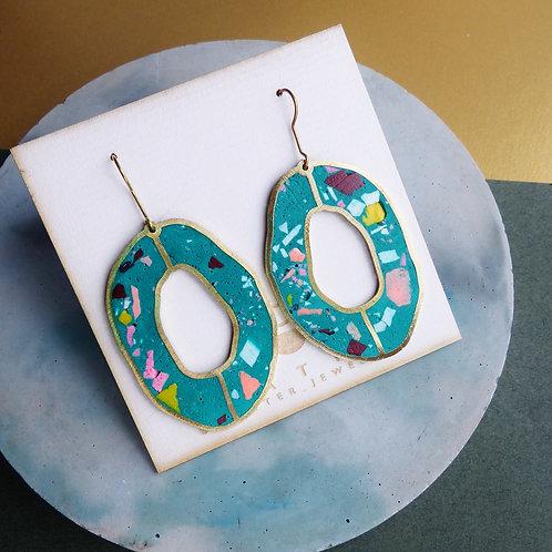 Oval Loop Earrings in Green Terrazzo by Scatter Jewellery