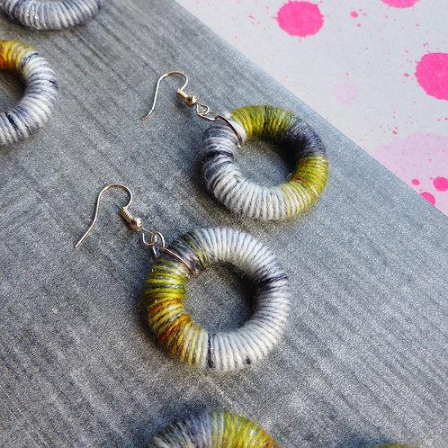 Khaki Green & Grey, Yarn Donut Earrings by Queen-Beads