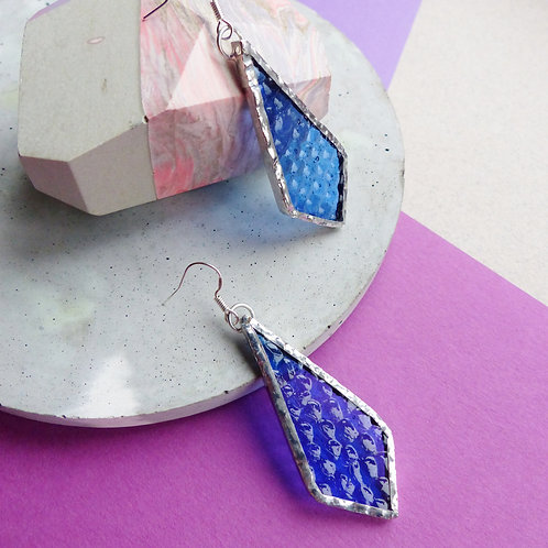 Purple/Blue Stained Glass, .925 Sterling Silver Dangle Earrings