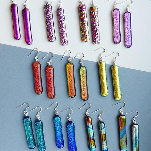 Glass Bar Earrings by Twisted Little Flowers