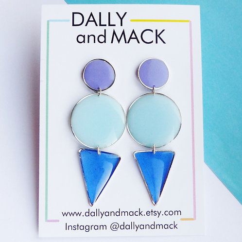 Blue & Lilac Colour Block Earrings by Dally and Mack