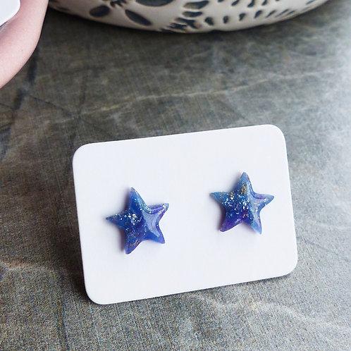 Galaxy Purple/Blue Star Studs, Small (8mm)