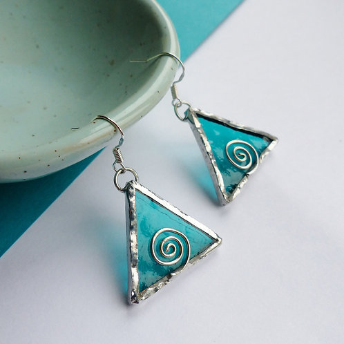 Teal Stained Glass, .925 Sterling Silver Dangle Earrings