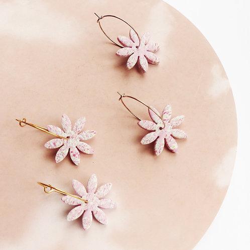Pastel Pink Flower Hoop Earrings