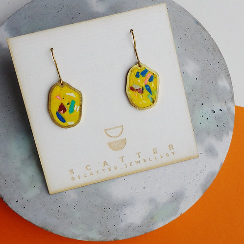 Small Irregular Ovals in Yellow Terrazzo by Scatter Jewellery