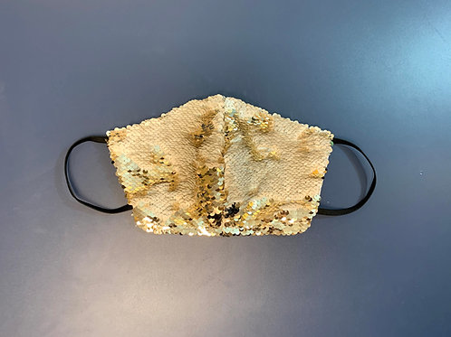 IVORY AND GOLD SEQUIN FACE MASK
