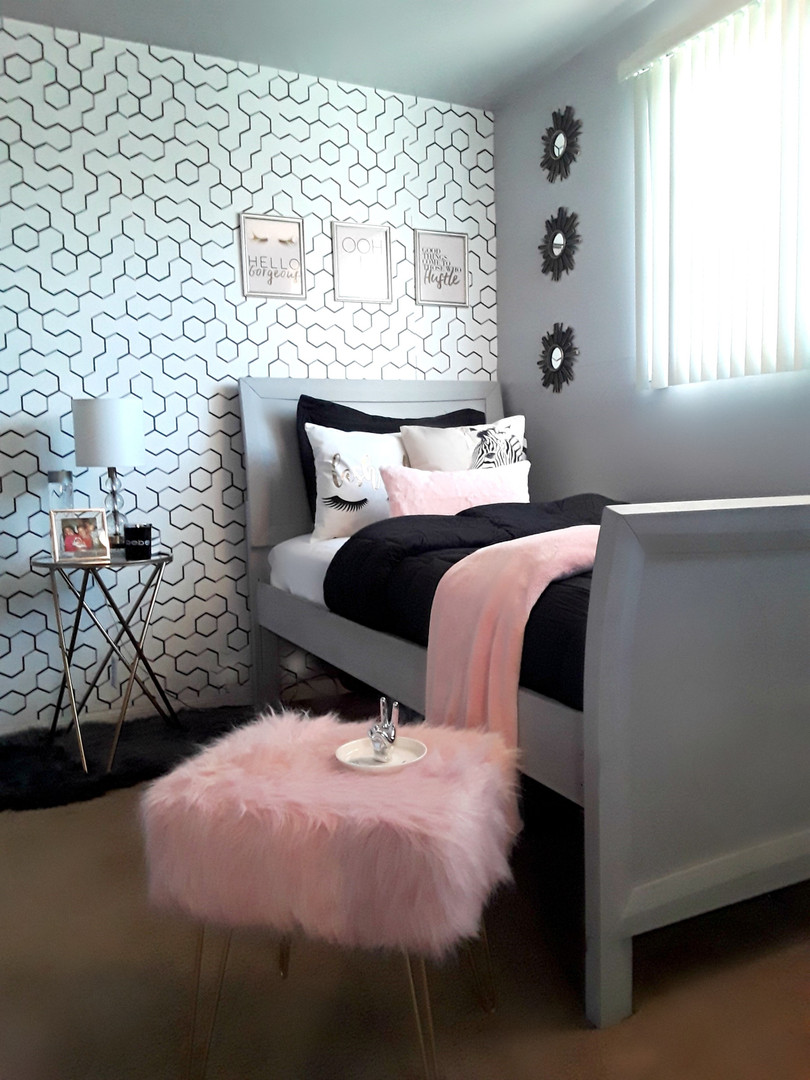 Glam modern teen girls room