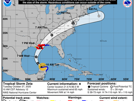 Zeta expected to make landfall Wednesday; state of emergency issued