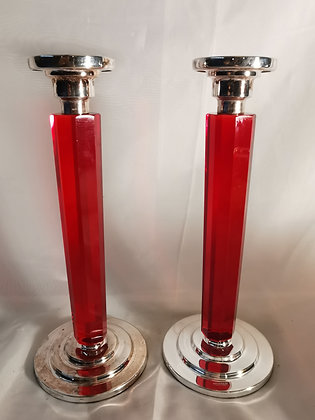 Pair of Sterling Silver Candlesticks with Glass Columns