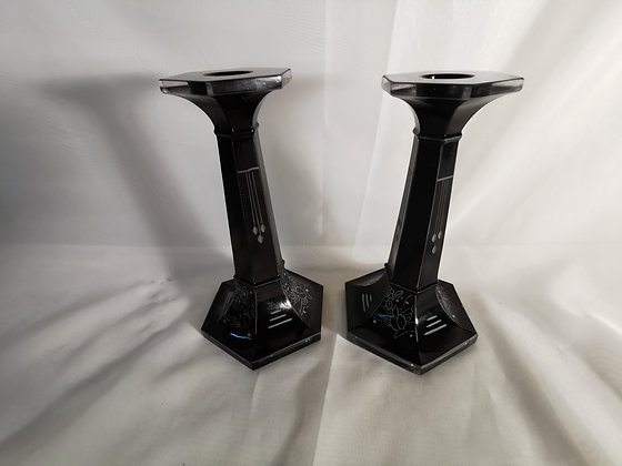 Pair of Palda Art Deco Glass Candlesticks