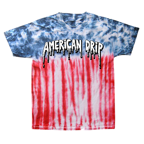 American Drip Tie Dye Flag Tee