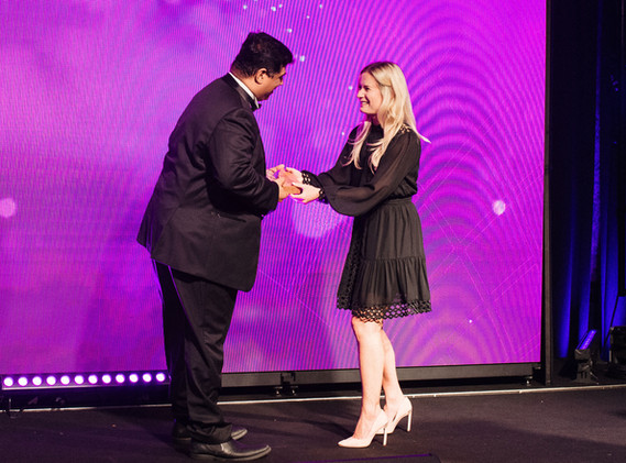 Chandan Ohri receiving the award