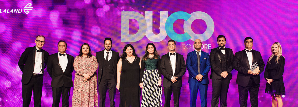 The Duco Team on the stage after winning!