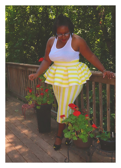 It's bananas yellow peplum skirt