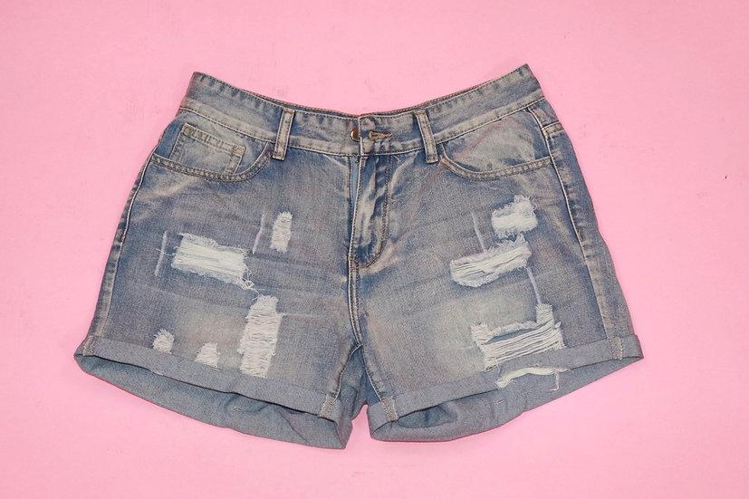 De-stressed Denim Shorts
