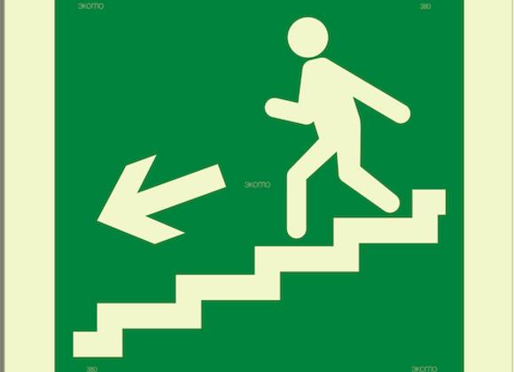 Е14 «Направление к эвакуационному выходу по лестнице вниз» (налево)