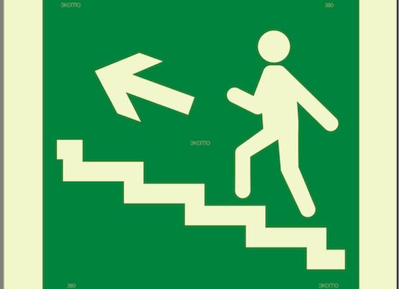 Е16 «Направление к эвакуационному выходу по лестнице вверх» (налево)