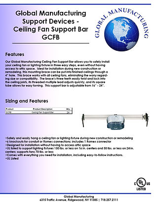 Support Devices - Ceiling Fan Support Ba