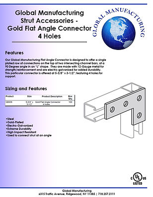 Strut Accessories - Gold Flat Angle Conn