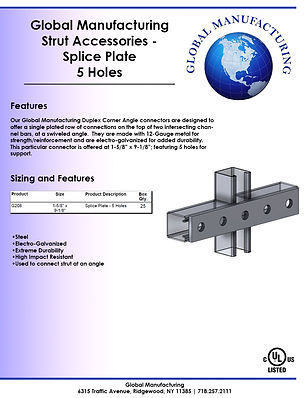 Strut Accessories - Splice Plate 5 Holes