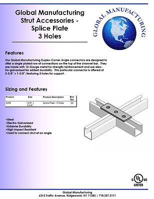 Strut Accessories - Splice Plate 3 Holes