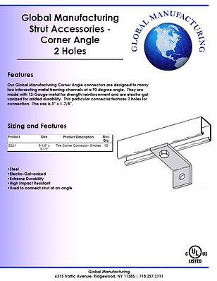 Strut Accessories - Corner Angle 2 Holes