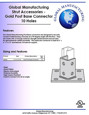 Strut Accessories - Gold Post Base Conne