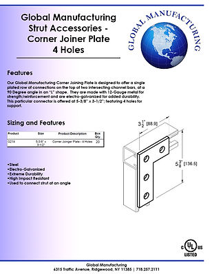 Strut Accessories - Corner Joiner Plate