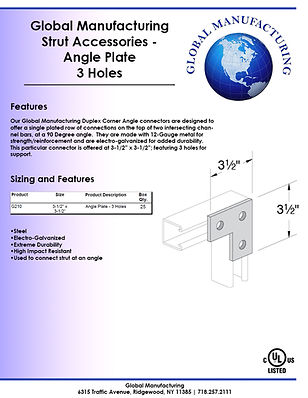 Strut Accessories - Angle Plate 3 Holes.