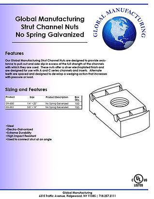 Strut Channel Nuts - No Spring Galvanize