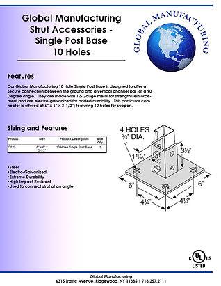 Strut Accessories - Singe Post Base 10 H