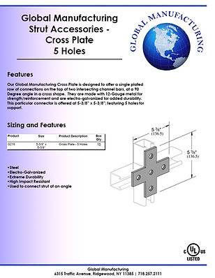Strut Accessories - Cross Plate 5 Holes.