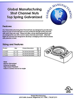 Strut Channel Nuts - Top Spring Galvaniz
