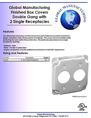 Finished Box Covers Double Gang with 2 S