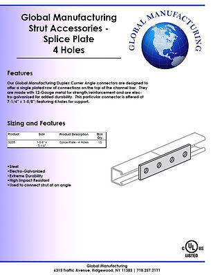 Strut Accessories - Splice Plate 4 Holes