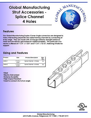 Strut Accessories - Splice Channel 4 Hol
