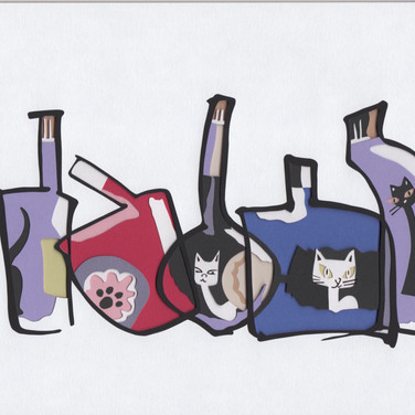 ボトルにネコの絵