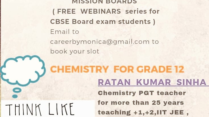 CHEMISTRY FOR GRADE 12 SCIENCE STREAM STUDENTS(FREE WEBINAR hosted by CAREER TRAJECTORY with MONICA)