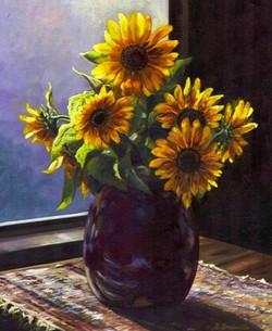 Sunflowers in the Window 20x16