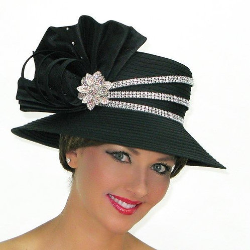 #229 Black Year-round Satin ribbon down brim.