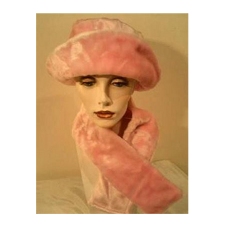 #392 Pink Faux Fur Fully lined Hat (without scarf).