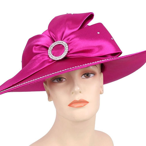 #162 Year-round Satin covered one side pulled up oval shaped asymmetrical brim.