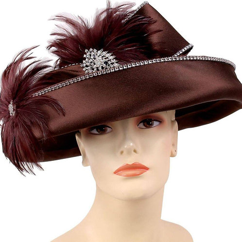 #70 Satin embellished wide brim felt.