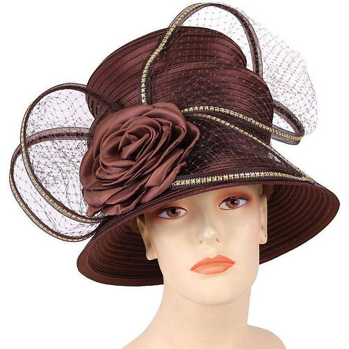 #220 Ms Divine Satin ribbon hat, topped with net.